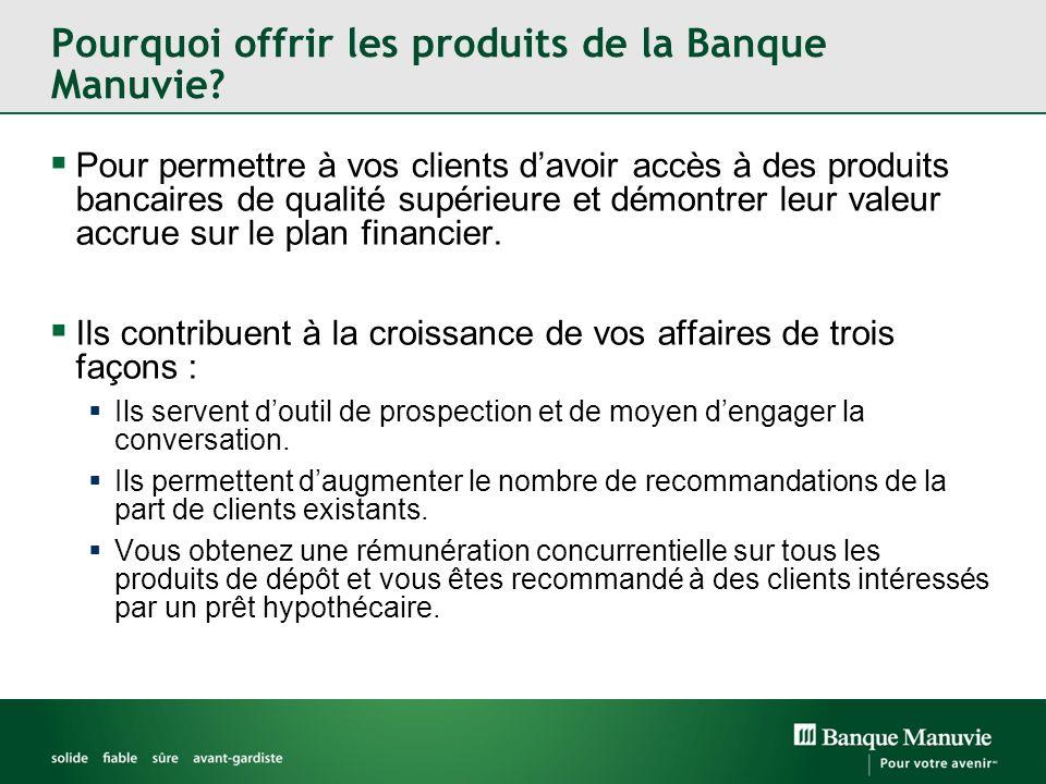 Pourquoi offrir les produits de la Banque Manuvie? Pour permettre à vos clients davoir accès à des produits bancaires de qualité supérieure et démontr