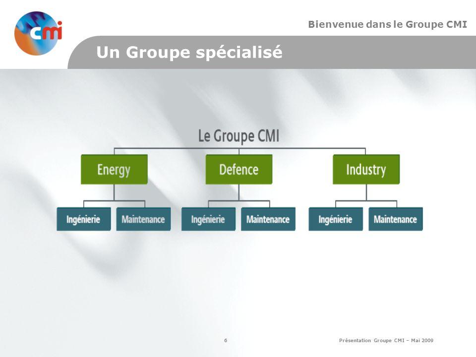 6 Présentation Groupe CMI – Mai 2009 Bienvenue dans le Groupe CMI Un Groupe spécialisé
