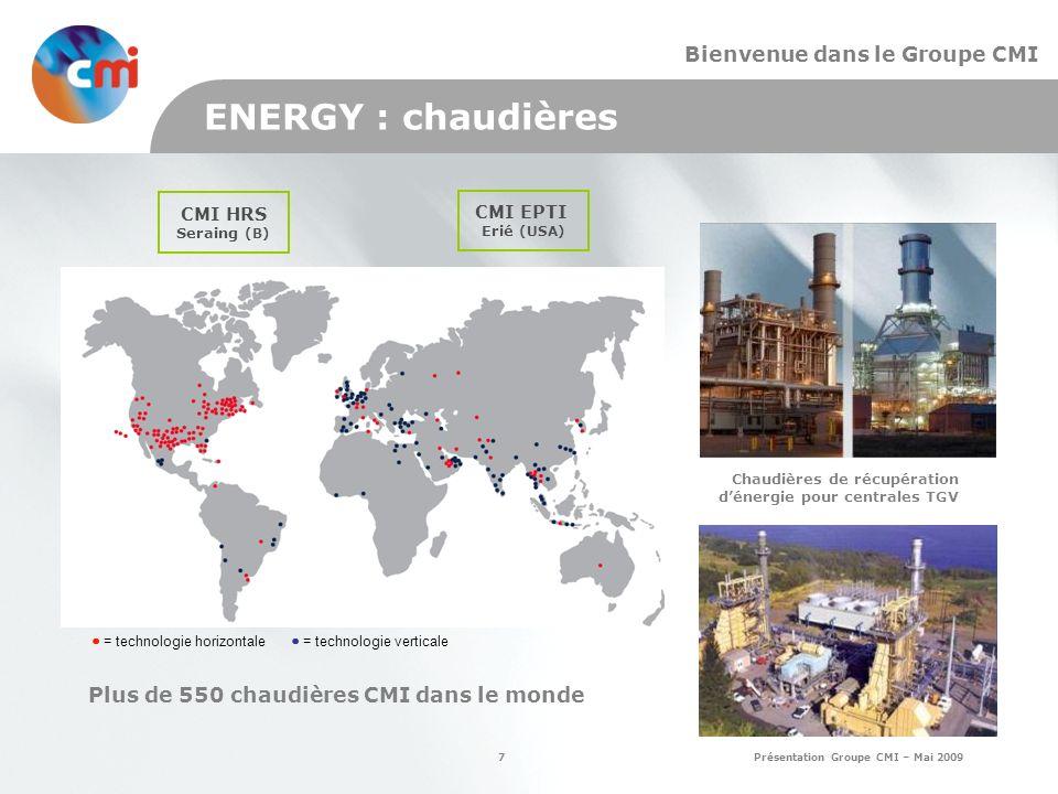 7 Présentation Groupe CMI – Mai 2009 Bienvenue dans le Groupe CMI ENERGY : chaudières Chaudières de récupération dénergie pour centrales TGV Plus de 550 chaudières CMI dans le monde CMI EPTI Erié (USA) CMI HRS Seraing (B) = technologie horizontale = technologie verticale