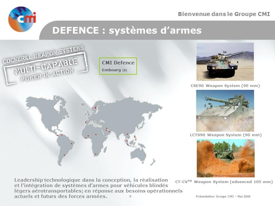 9 Présentation Groupe CMI – Mai 2009 Bienvenue dans le Groupe CMI DEFENCE : systèmes darmes CMI Defence Embourg (B) Leadership technologique dans la conception, la réalisation et l intégration de systèmes darmes pour véhicules blindés légers aérotransportables; en réponse aux besoins opérationnels actuels et futurs des forces armées.