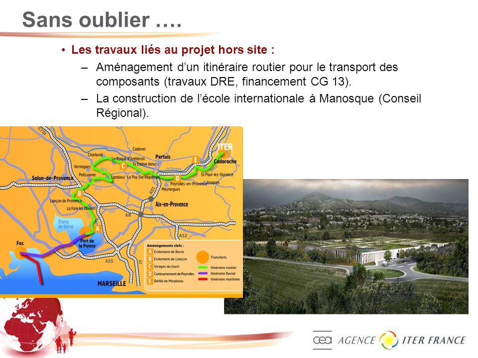 3 Sans oublier …. Les travaux liés au projet hors site : –Aménagement dun itinéraire routier pour le transport des composants (travaux DRE, financemen
