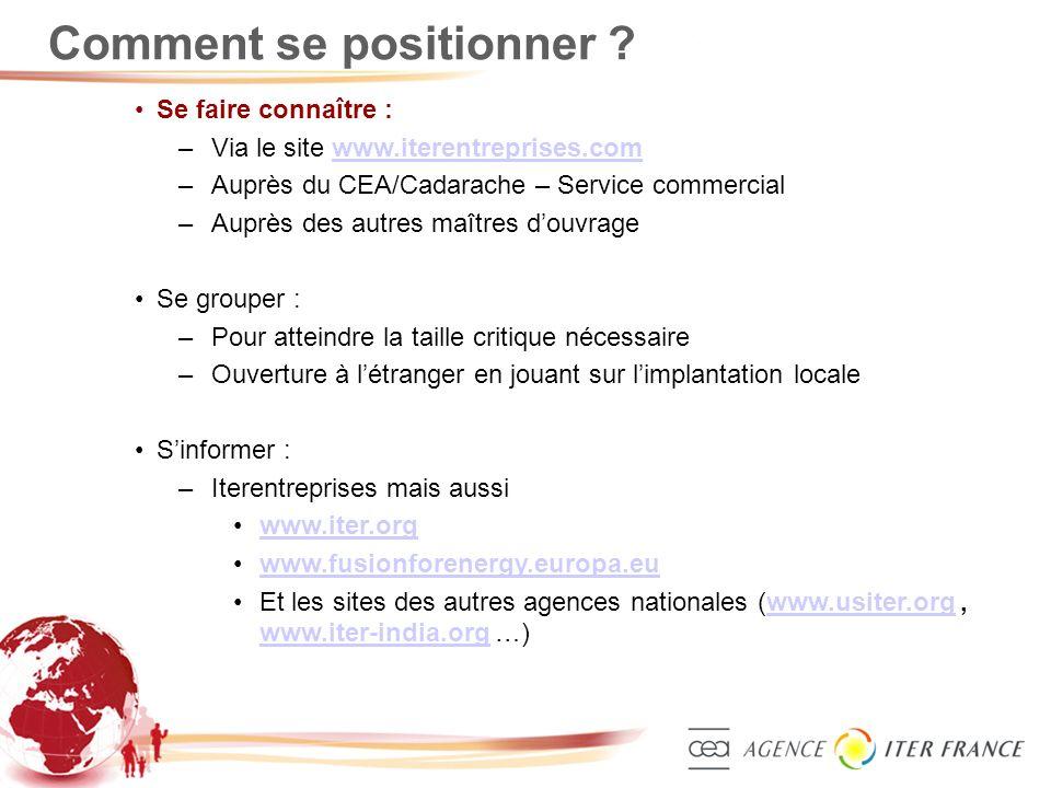 7 Comment se positionner ? Se faire connaître : –Via le site www.iterentreprises.comwww.iterentreprises.com –Auprès du CEA/Cadarache – Service commerc