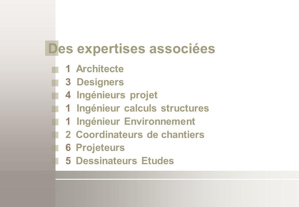 Des expertises associées 1 Architecte 3 Designers 4 Ingénieurs projet 1 Ingénieur calculs structures 1 Ingénieur Environnement 2Coordinateurs de chant