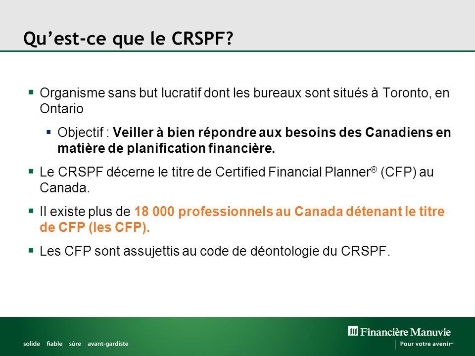 Quest-ce que le CRSPF? Organisme sans but lucratif dont les bureaux sont situés à Toronto, en Ontario Objectif : Veiller à bien répondre aux besoins d