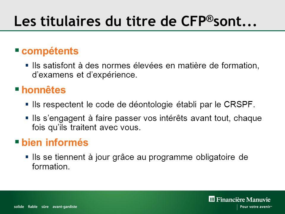 Les titulaires du titre de CFP ® sont... compétents Ils satisfont à des normes élevées en matière de formation, dexamens et dexpérience. honnêtes Ils