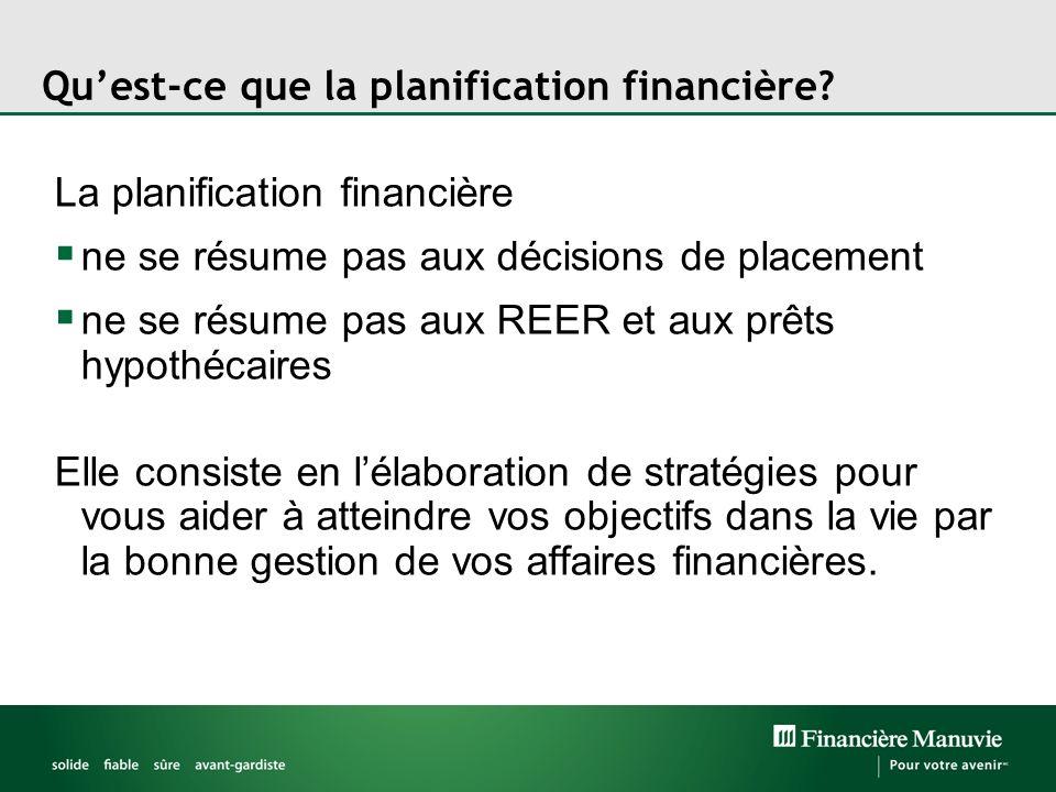 Quest-ce que la planification financière? La planification financière ne se résume pas aux décisions de placement ne se résume pas aux REER et aux prê
