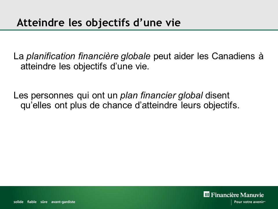 Atteindre les objectifs dune vie La planification financière globale peut aider les Canadiens à atteindre les objectifs dune vie. Les personnes qui on