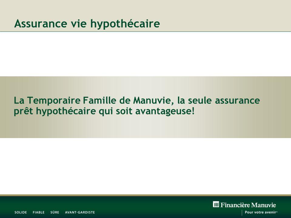 Assurance vie hypothécaire La Temporaire Famille de Manuvie, la seule assurance prêt hypothécaire qui soit avantageuse!