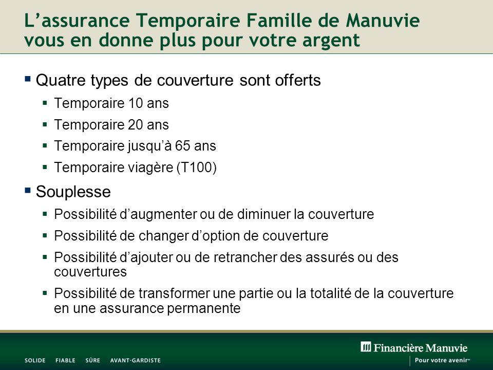 Lassurance Temporaire Famille de Manuvie vous en donne plus pour votre argent Quatre types de couverture sont offerts Temporaire 10 ans Temporaire 20