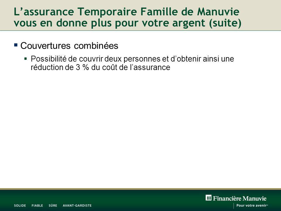 Lassurance Temporaire Famille de Manuvie vous en donne plus pour votre argent (suite) Couvertures combinées Possibilité de couvrir deux personnes et dobtenir ainsi une réduction de 3 % du coût de lassurance