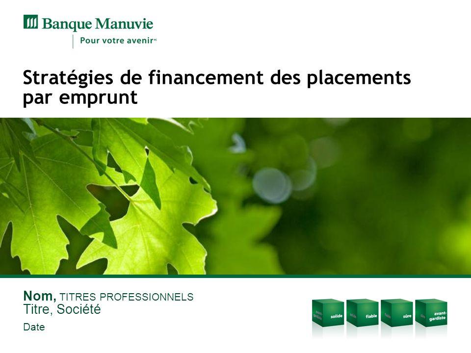 Stratégies de financement des placements par emprunt Nom, TITRES PROFESSIONNELS Titre, Société Date