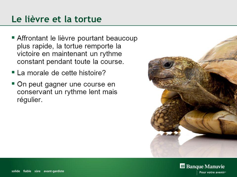 Le lièvre et la tortue Affrontant le lièvre pourtant beaucoup plus rapide, la tortue remporte la victoire en maintenant un rythme constant pendant toute la course.