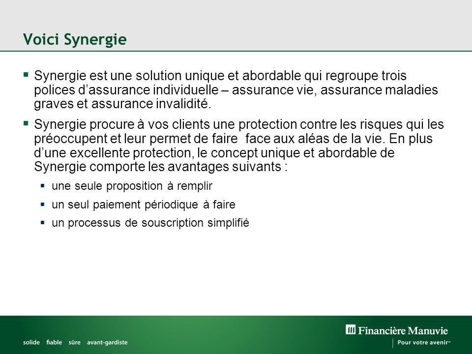 Voici Synergie Synergie est une solution unique et abordable qui regroupe trois polices dassurance individuelle – assurance vie, assurance maladies graves et assurance invalidité.