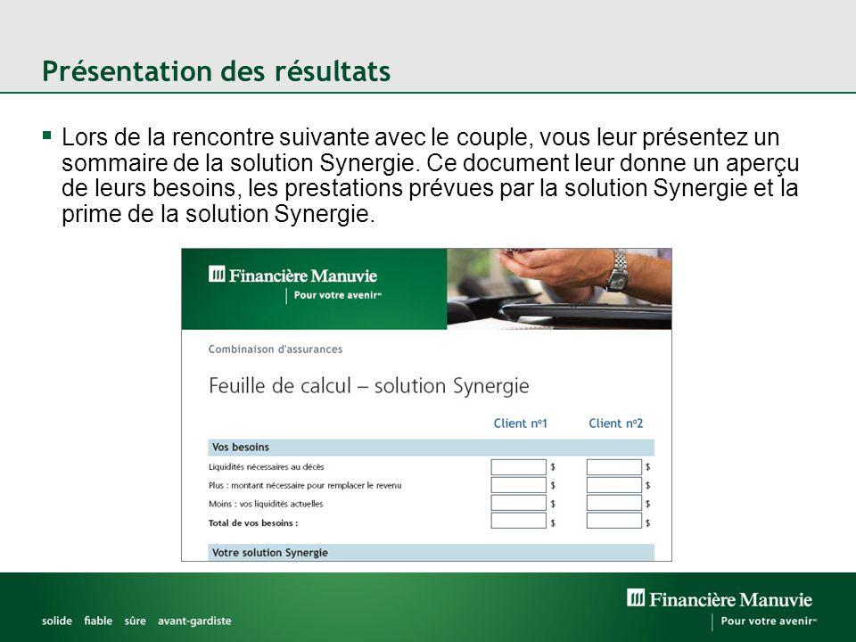 Présentation des résultats Lors de la rencontre suivante avec le couple, vous leur présentez un sommaire de la solution Synergie.
