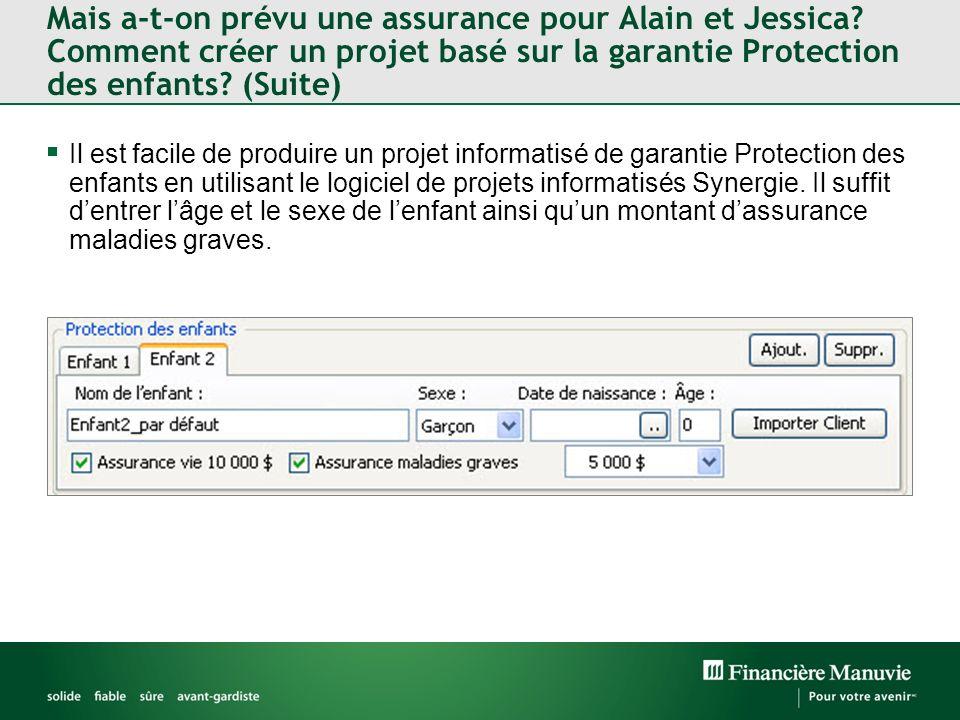 Mais a-t-on prévu une assurance pour Alain et Jessica.