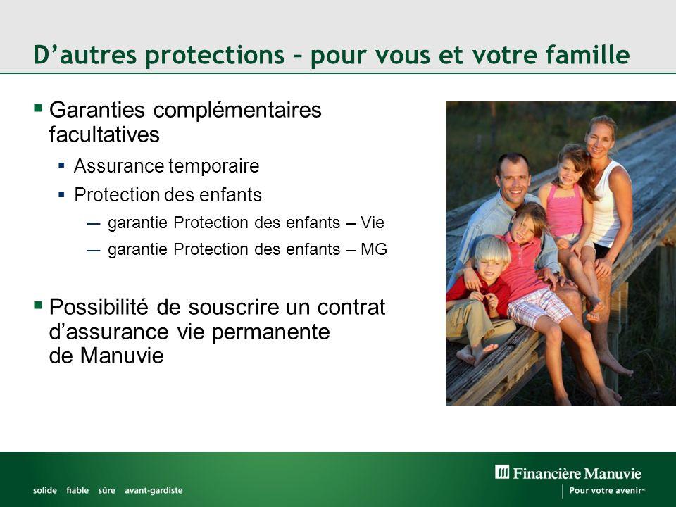 Dautres protections – pour vous et votre famille Garanties complémentaires facultatives Assurance temporaire Protection des enfants garantie Protectio