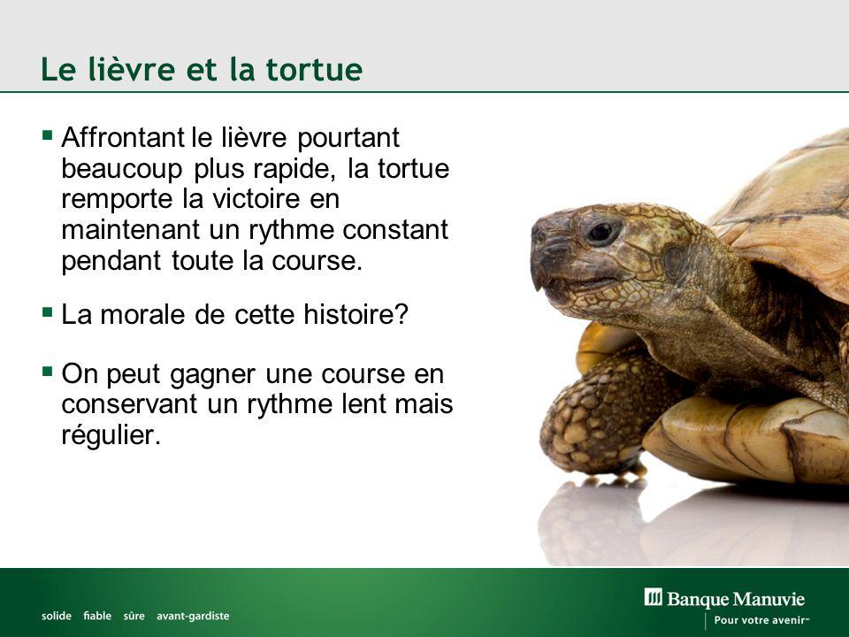 Affrontant le lièvre pourtant beaucoup plus rapide, la tortue remporte la victoire en maintenant un rythme constant pendant toute la course.