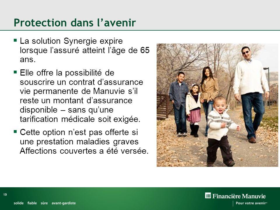 19 Protection dans lavenir La solution Synergie expire lorsque lassuré atteint lâge de 65 ans.
