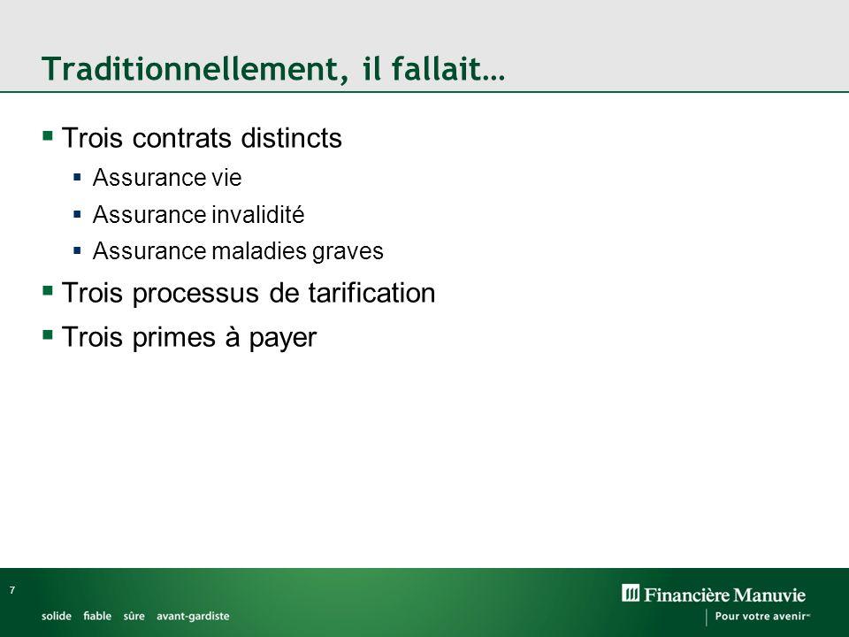 7 Traditionnellement, il fallait… Trois contrats distincts Assurance vie Assurance invalidité Assurance maladies graves Trois processus de tarification Trois primes à payer