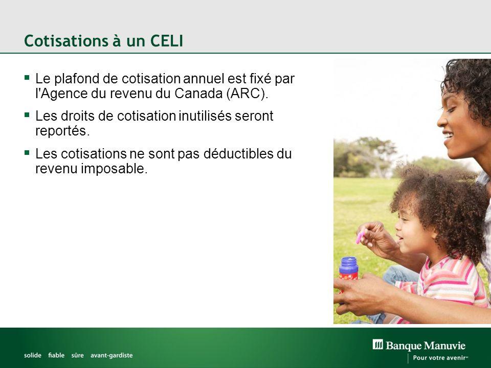 Cotisations à un CELI Le plafond de cotisation annuel est fixé par l Agence du revenu du Canada (ARC).