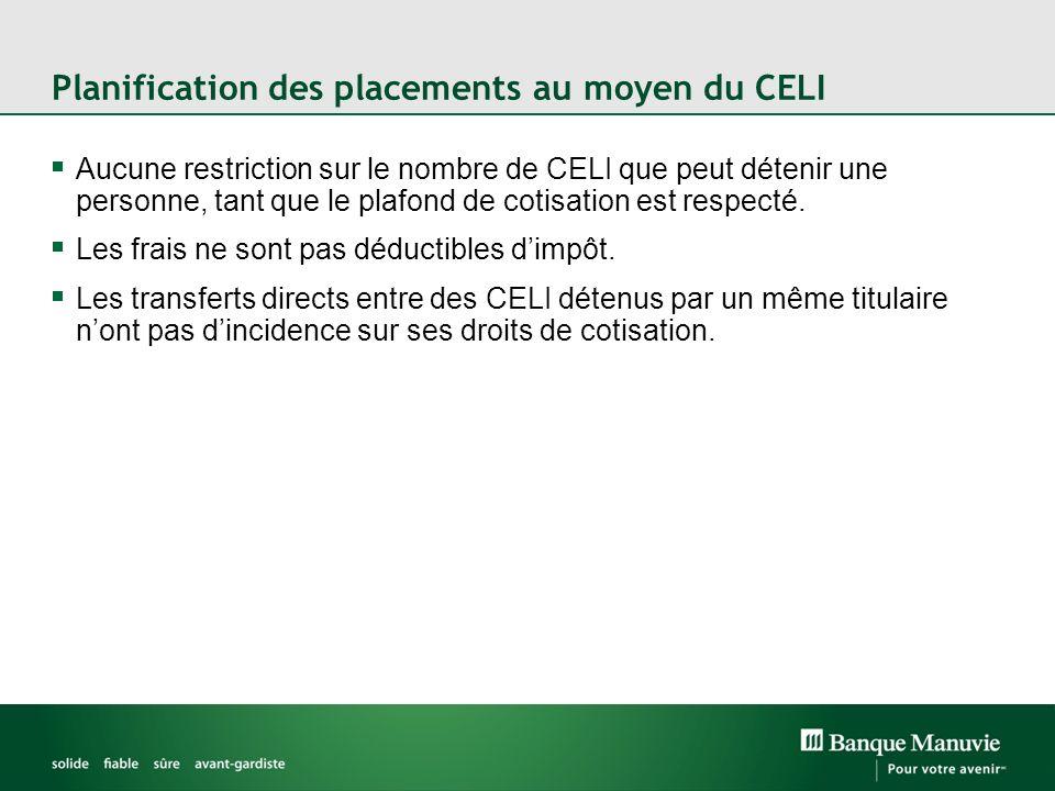 Planification des placements au moyen du CELI Aucune restriction sur le nombre de CELI que peut détenir une personne, tant que le plafond de cotisation est respecté.