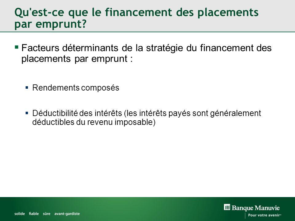 Facteurs déterminants de la stratégie du financement des placements par emprunt : Rendements composés Déductibilité des intérêts (les intérêts payés sont généralement déductibles du revenu imposable)