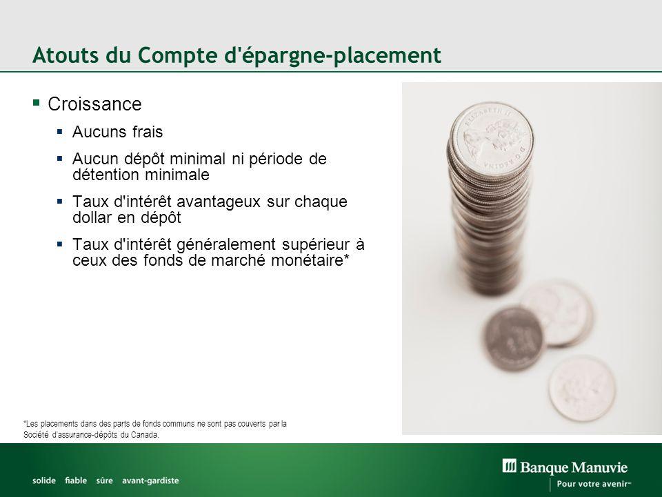 Atouts du Compte d'épargne-placement Croissance Aucuns frais Aucun dépôt minimal ni période de détention minimale Taux d'intérêt avantageux sur chaque