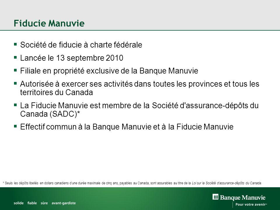 Fiducie Manuvie Société de fiducie à charte fédérale Lancée le 13 septembre 2010 Filiale en propriété exclusive de la Banque Manuvie Autorisée à exerc