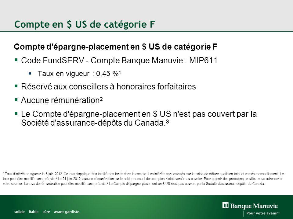 Compte en $ US de catégorie F Compte d'épargne-placement en $ US de catégorie F Code FundSERV - Compte Banque Manuvie : MIP611 Taux en vigueur : 0,45
