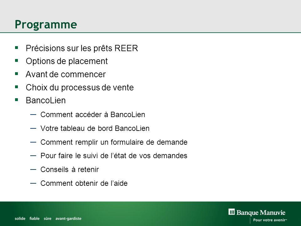Programme Précisions sur les prêts REER Options de placement Avant de commencer Choix du processus de vente BancoLien Comment accéder à BancoLien Votr