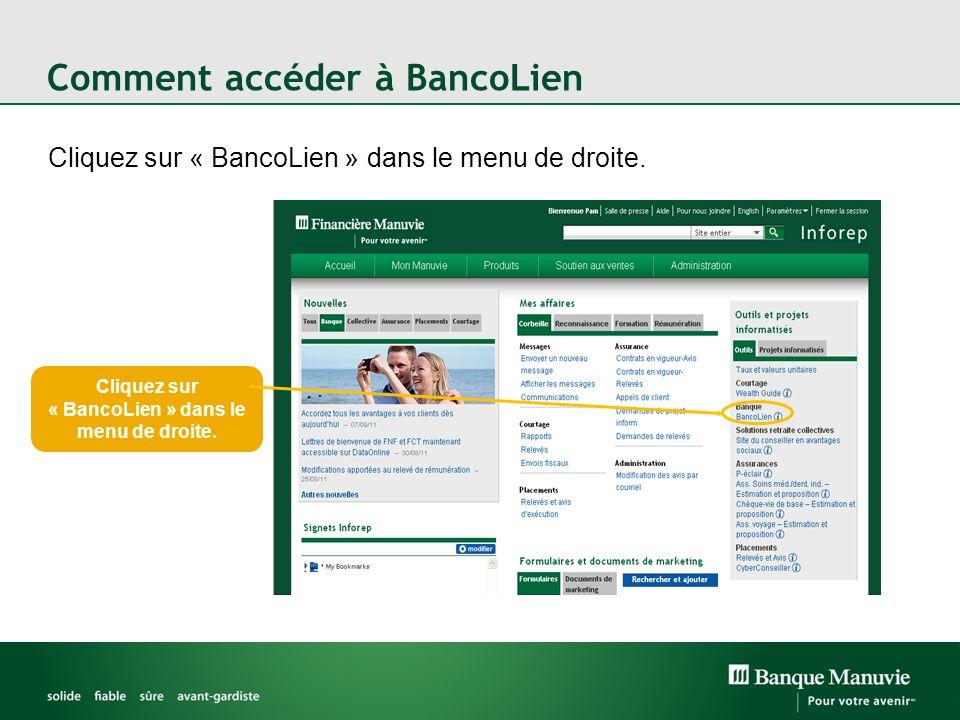 Votre tableau de bord BancoLien Vous connaîtrez létat de toutes vos demandes de prêt en consultant la page d entrée.