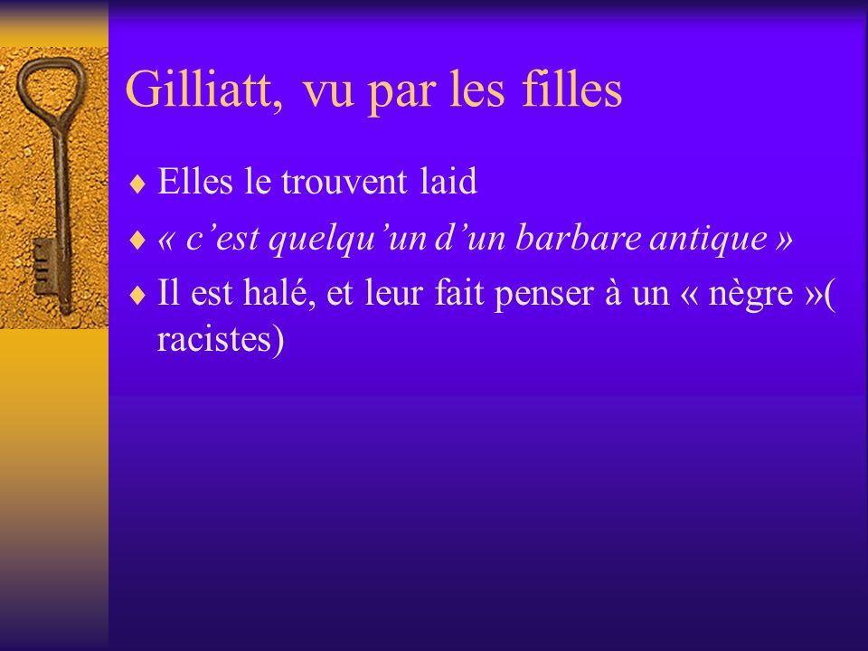 Gilliatt, vu par les filles Elles le trouvent laid « cest quelquun dun barbare antique » Il est halé, et leur fait penser à un « nègre »( racistes)