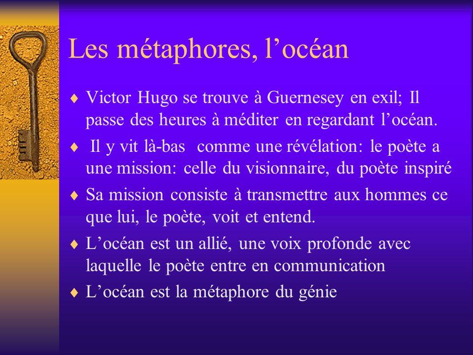 Les métaphores, locéan Victor Hugo se trouve à Guernesey en exil; Il passe des heures à méditer en regardant locéan. Il y vit là-bas comme une révélat