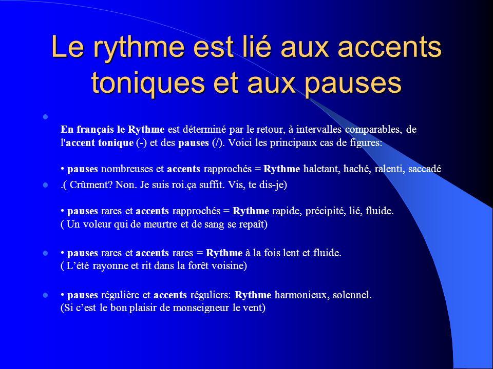 Le rythme est lié aux accents toniques et aux pauses En français le Rythme est déterminé par le retour, à intervalles comparables, de l'accent tonique