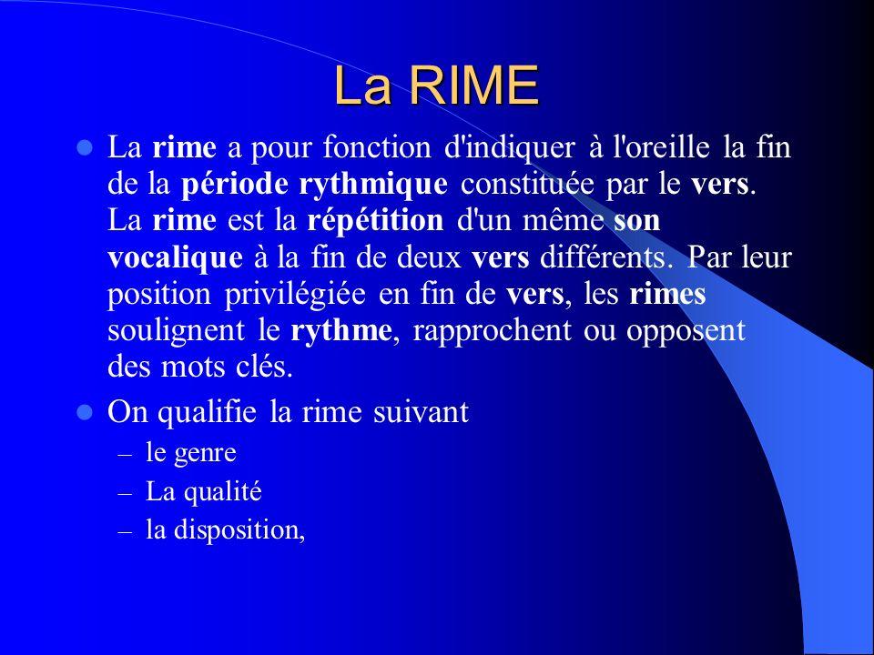 La rime a pour fonction d'indiquer à l'oreille la fin de la période rythmique constituée par le vers. La rime est la répétition d'un même son vocaliqu