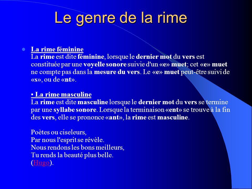 La rime féminine La rime est dite féminine, lorsque le dernier mot du vers est constituée par une voyelle sonore suivie d'un «e» muet; cet «e» muet ne
