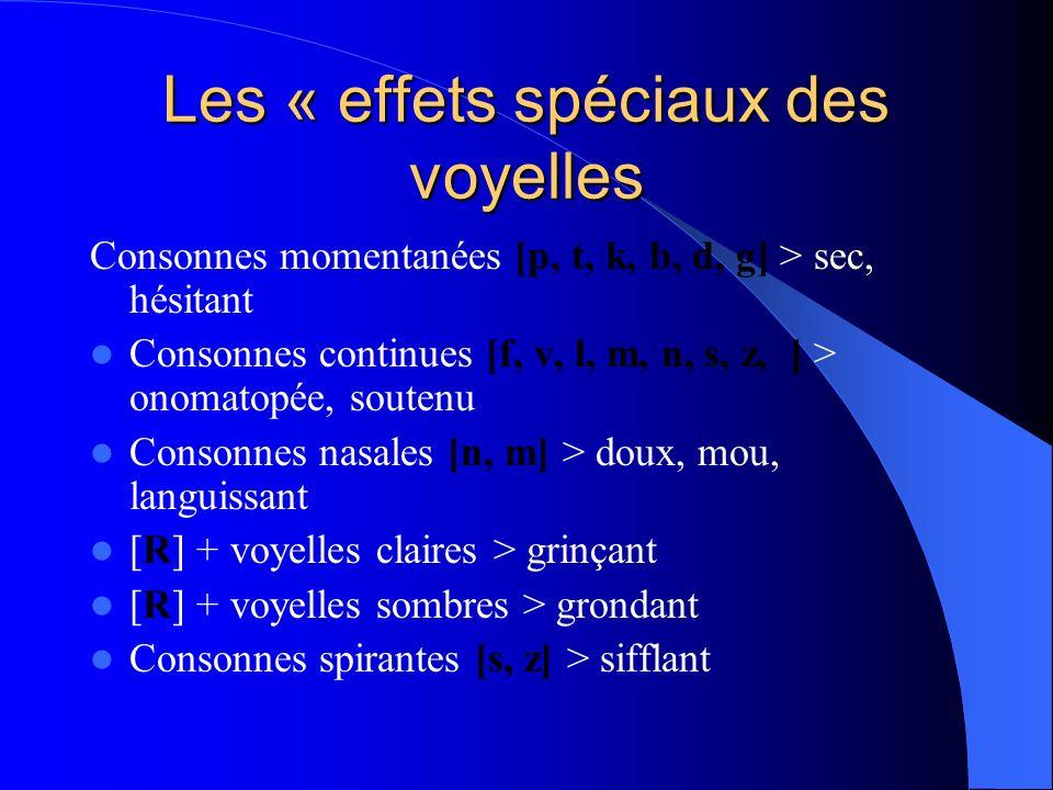 Les « effets spéciaux des voyelles Consonnes momentanées [p, t, k, b, d, g] > sec, hésitant Consonnes continues [f, v, l, m, n, s, z, ] > onomatopée,