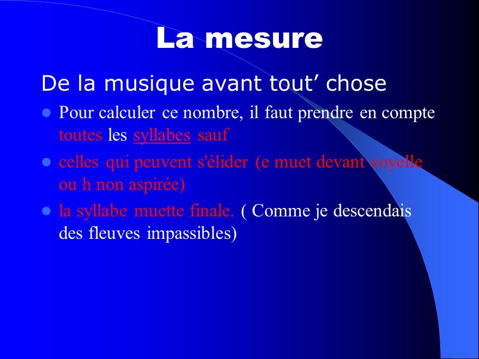 La mesure De la musique avant tout chose Pour calculer ce nombre, il faut prendre en compte toutes les syllabes saufsyllabes celles qui peuvent s'élid