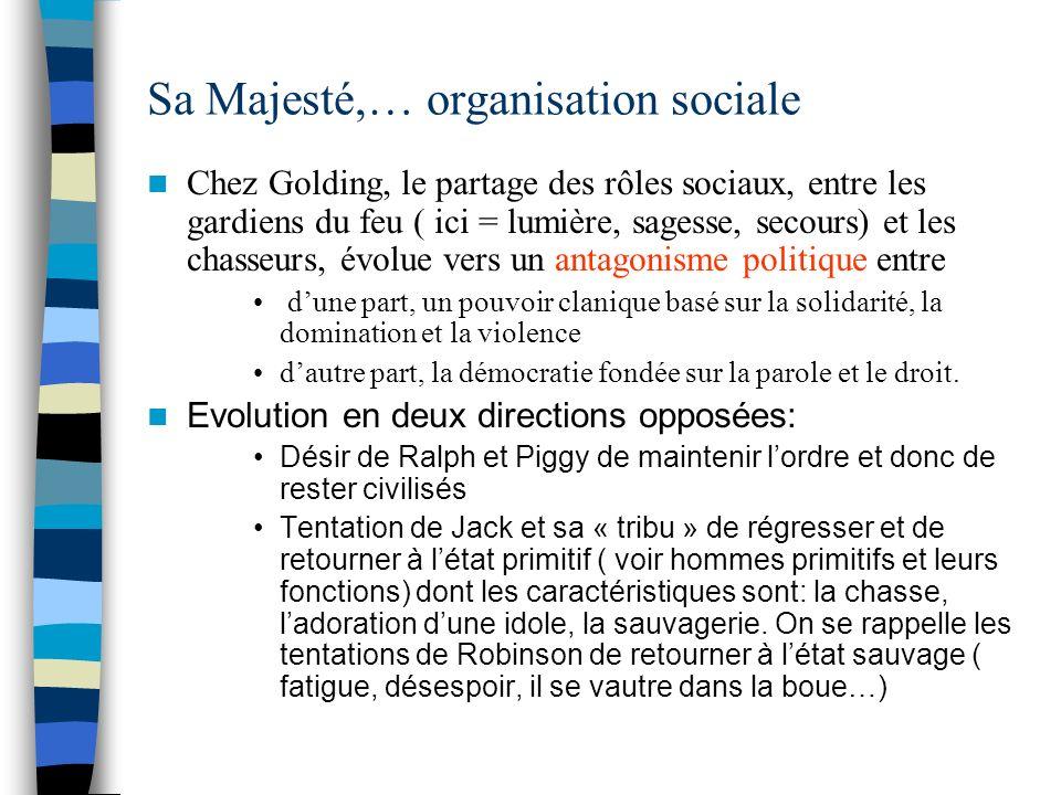 Sa Majesté,… organisation sociale Chez Golding, le partage des rôles sociaux, entre les gardiens du feu ( ici = lumière, sagesse, secours) et les chas