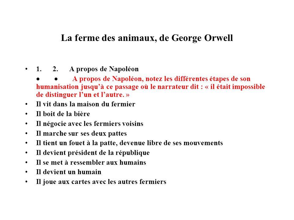 La ferme des animaux, de George Orwell 1. 2. A propos de Napoléon A propos de Napoléon, notez les différentes étapes de son humanisation jusquà ce pas
