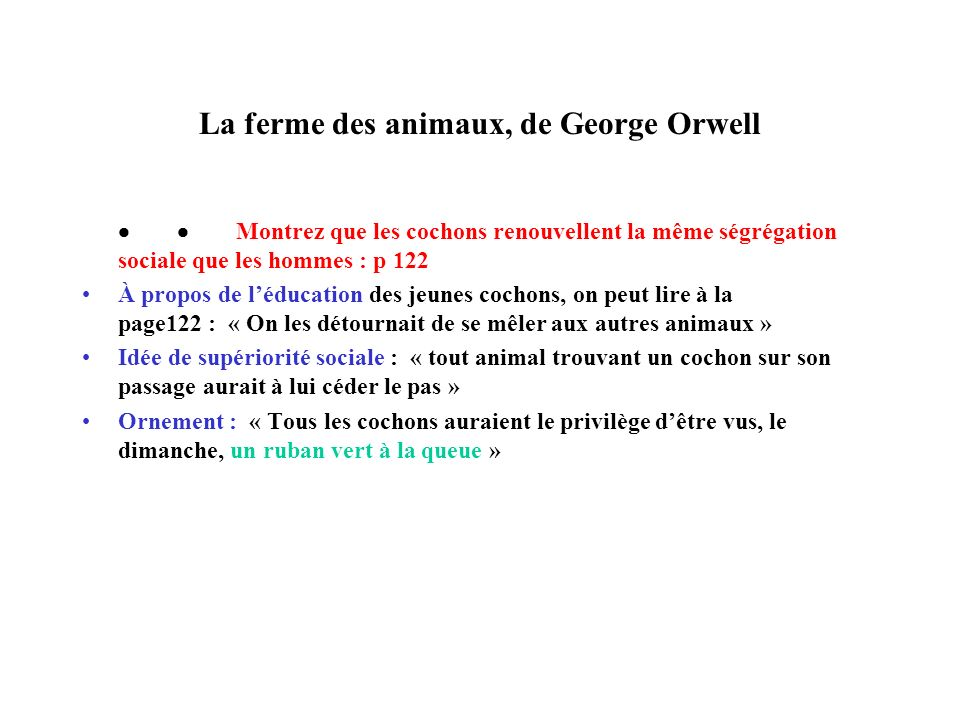 La ferme des animaux, de George Orwell Montrez que les cochons renouvellent la même ségrégation sociale que les hommes : p 122 À propos de léducation