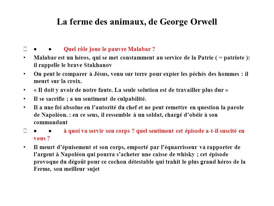 La ferme des animaux, de George Orwell Quel rôle joue le pauvre Malabar ? Malabar est un héros, qui se met constamment au service de la Patrie ( = pat