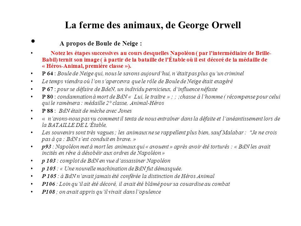 La ferme des animaux, de George Orwell Synthèse : Page après page, nous voyons comment Napoléon, aidé de Brille- Babil remet en question la bravoure et le mérite de BdN jusquà ce quils parviennent à renverser complètement la situation en faisant de ce Héros Animal un traître