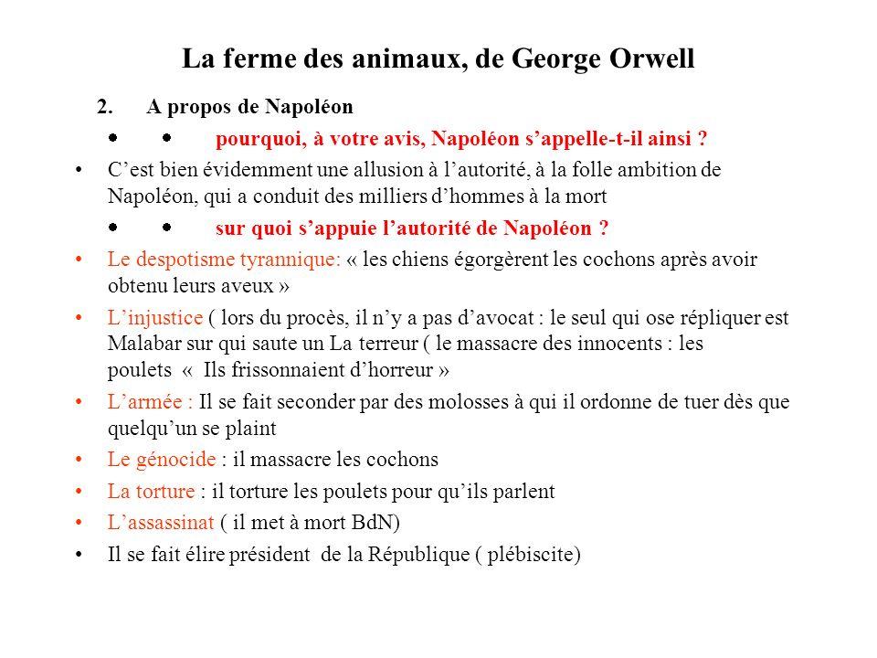 La ferme des animaux, de George Orwell 2. A propos de Napoléon pourquoi, à votre avis, Napoléon sappelle-t-il ainsi ? Cest bien évidemment une allusio