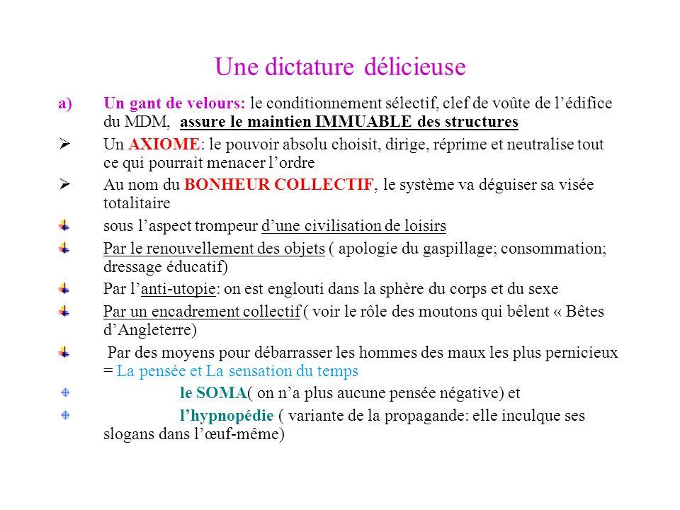 Une dictature délicieuse a)Un gant de velours: le conditionnement sélectif, clef de voûte de lédifice du MDM, assure le maintien IMMUABLE des structur