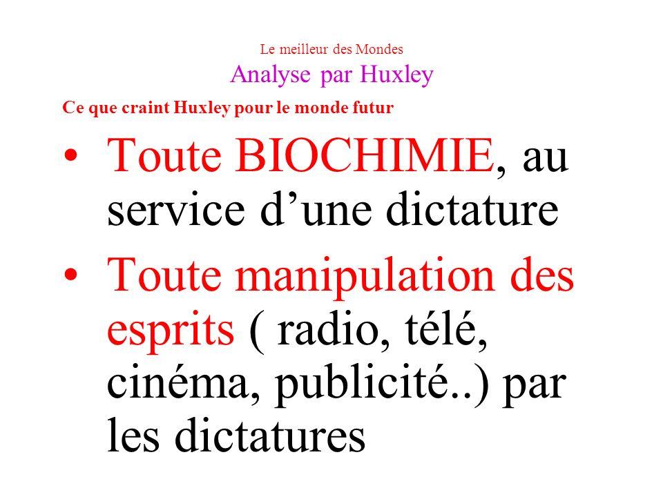 Le meilleur des Mondes Analyse par Huxley Ce que craint Huxley pour le monde futur Toute BIOCHIMIE, au service dune dictature Toute manipulation des e