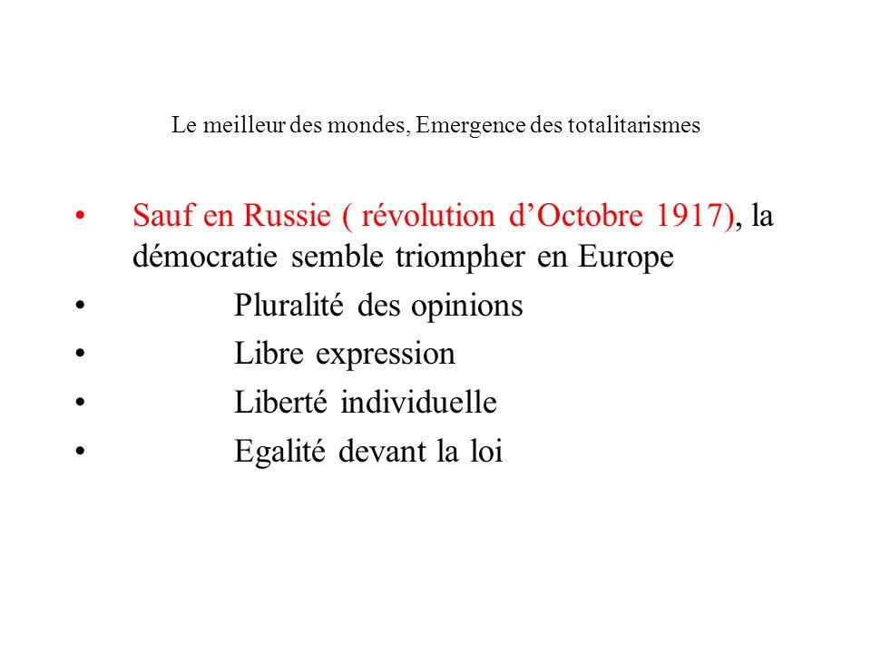Le meilleur des mondes, Emergence des totalitarismes Sauf en Russie ( révolution dOctobre 1917), la démocratie semble triompher en Europe Pluralité de