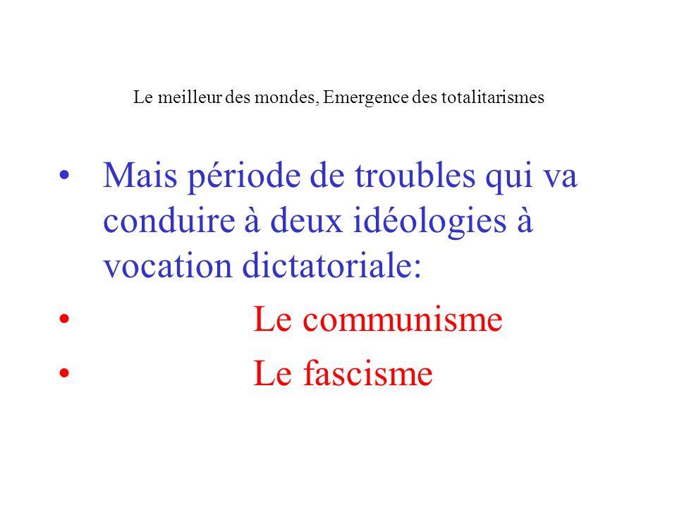 Le meilleur des mondes, Emergence des totalitarismes Mais période de troubles qui va conduire à deux idéologies à vocation dictatoriale: Le communisme
