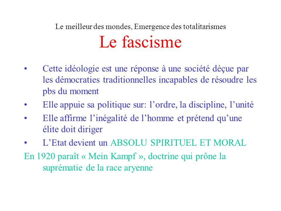Le meilleur des mondes, Emergence des totalitarismes Le fascisme Cette idéologie est une réponse à une société déçue par les démocraties traditionnell