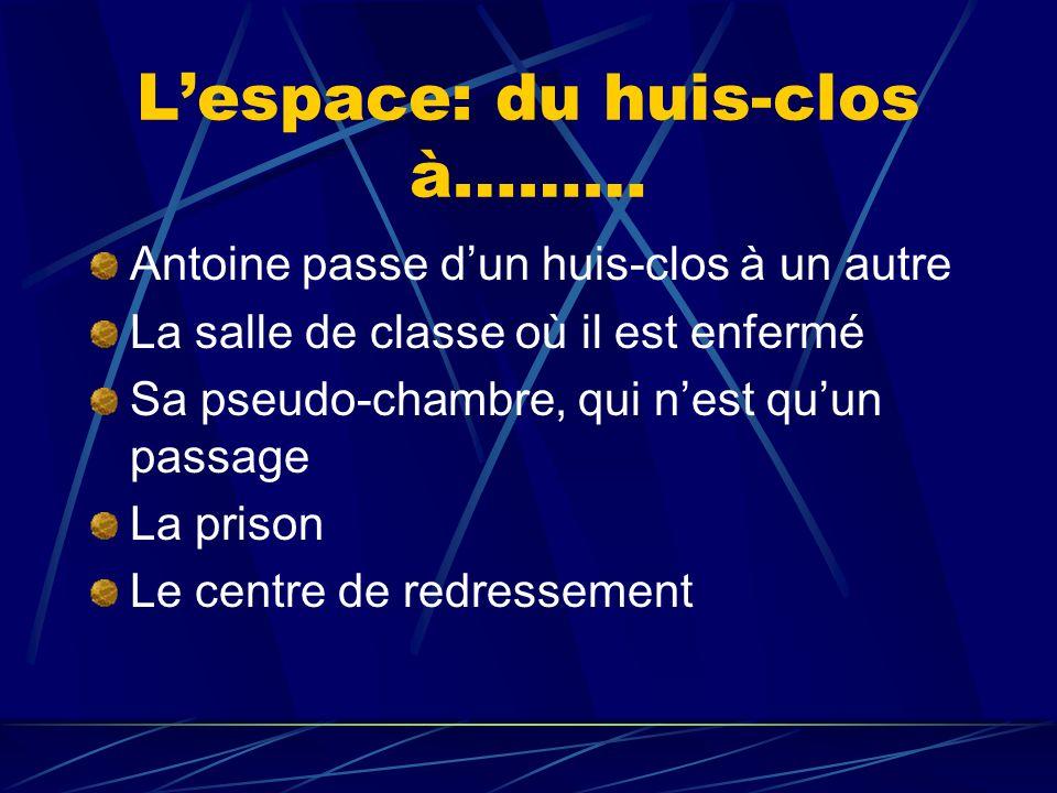 Lespace: du huis-clos à……… Antoine passe dun huis-clos à un autre La salle de classe où il est enfermé Sa pseudo-chambre, qui nest quun passage La pri
